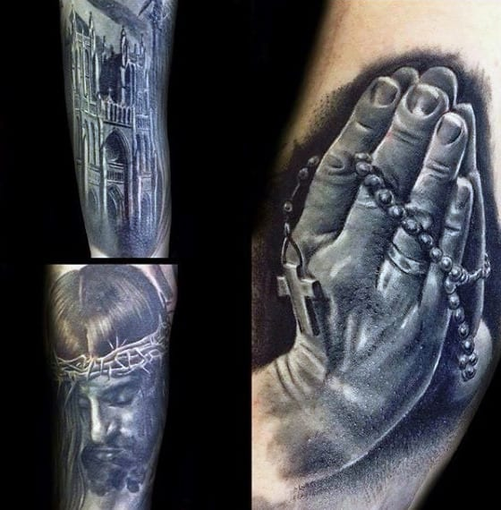 3d Praying Hands Creative Mens Rosary Tattoos On Bicep