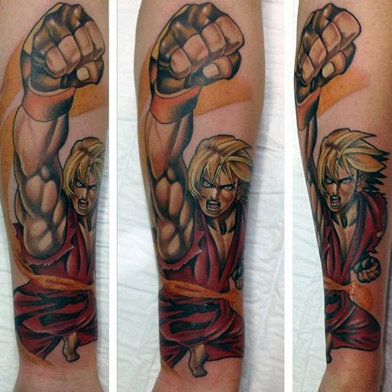 3d Punch Mens Street Fighter Tattoo Ideas On Forearm