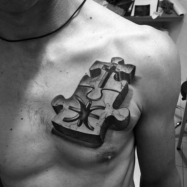 3d Puzzle Peice Mens Small Chest Tattoos