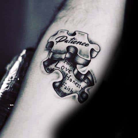 3d Puzzle Piece Patience Tattoo Ideas For Males