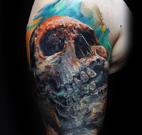 3d Quarter Sleeve Watercolor Skull Male Tattoo Ideas
