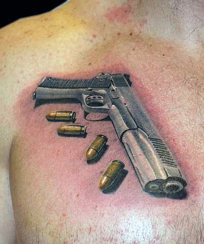 3d Realistic 1911 With Ammo Bullets Mens Upper Chest Tattoos
