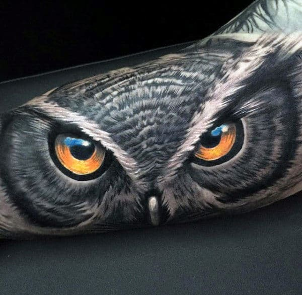 3d Realistic Amazing Mens Arm Owl Tatoos
