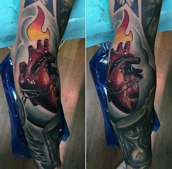 3d Realistic Anatomical Sacred Heart Mens Full Sleeve Tattoo