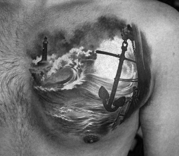 3d Realistic Anchor With Ocean Wave And Lighthouse Small Mens Chest Tattoos