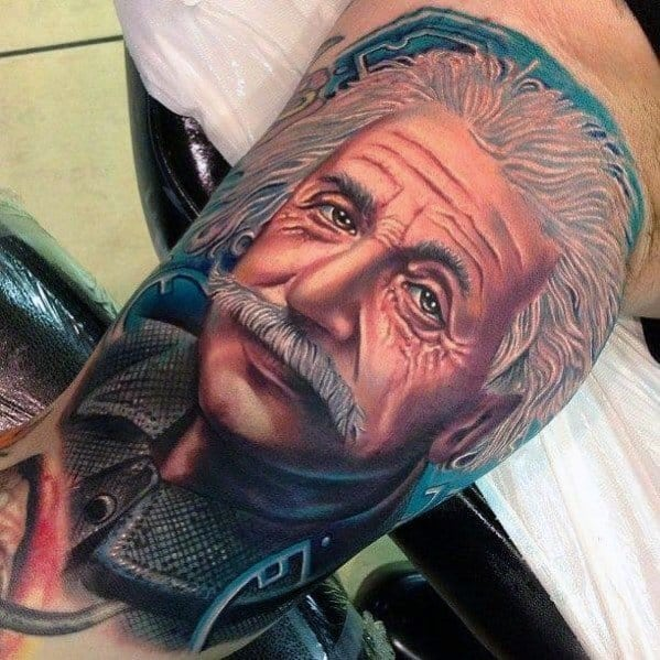 3d Realistic Arm Albert Einstein Portrait Tattoo Ideas On Guys