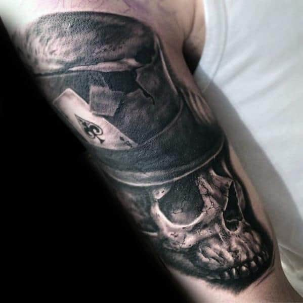 3d Realistic Arm Skull With Top Hat Tattoos For Gentlemen