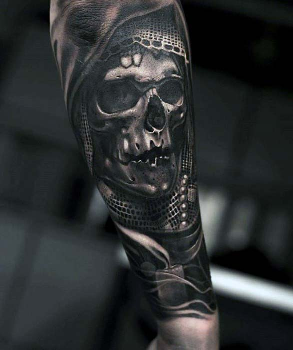 3d Realistic Badass Skull Candle Male Outer Forearm Tattoo Ideas