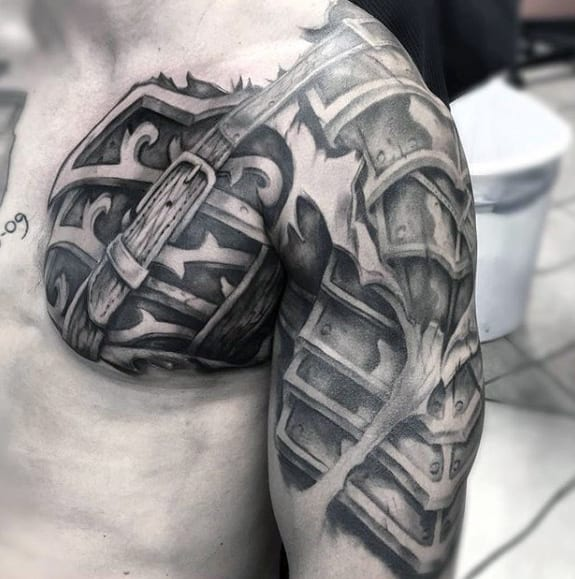 3d Realistic Battle Armor Plate Guys Cool Chest Tattoo Designs