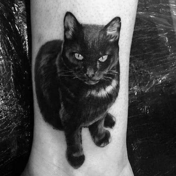 3d Realistic Black Cat Tattoo Designs For Men
