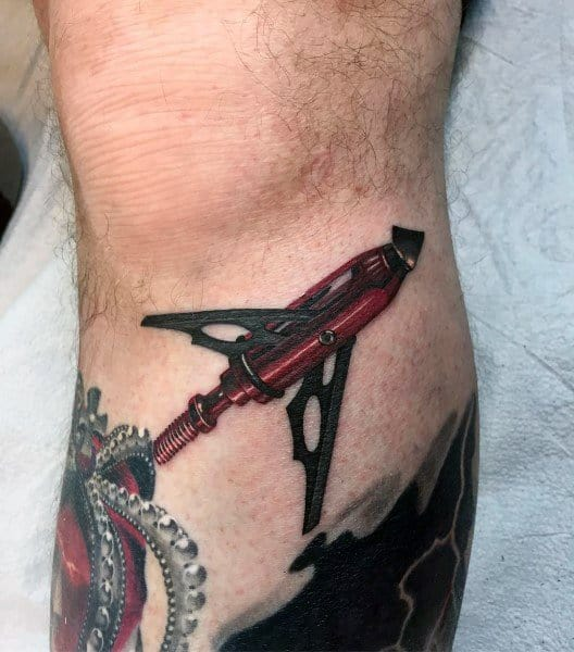 3d Realistic Bowhunting Broadhead Leg Tattoo