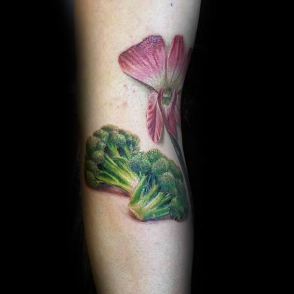 3d Realistic Broccoli Tattoo For Men