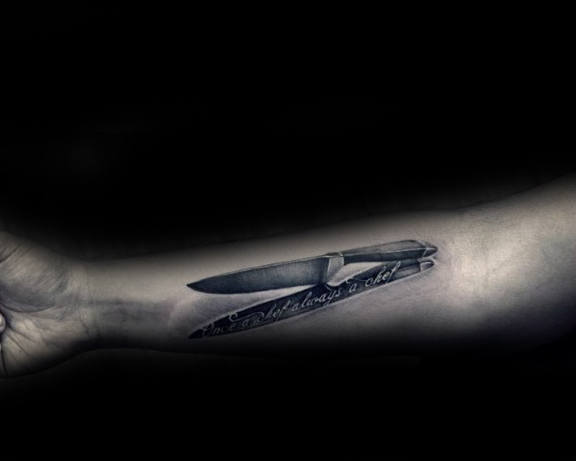 3d Realistic Chef Knife With Shadow Tattoo For Men