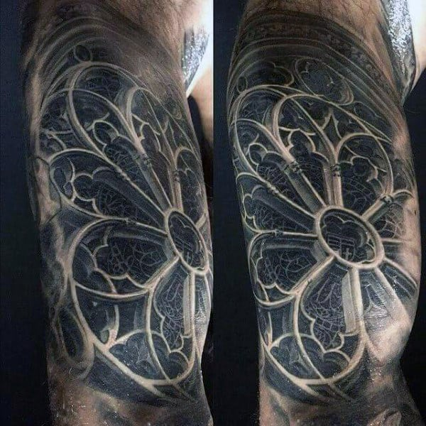 3d Realistic Church Stained Glass Window Tattoo On Man
