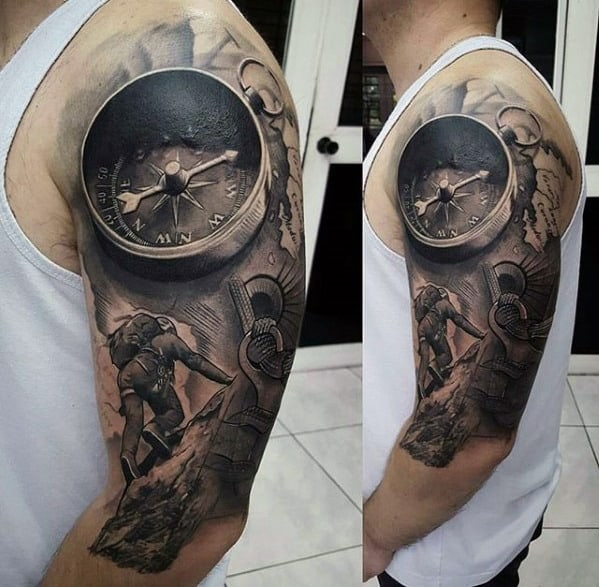 3d Realistic Compass With Mountain Climber Unbelievable Mens Half Sleeve Tattoos