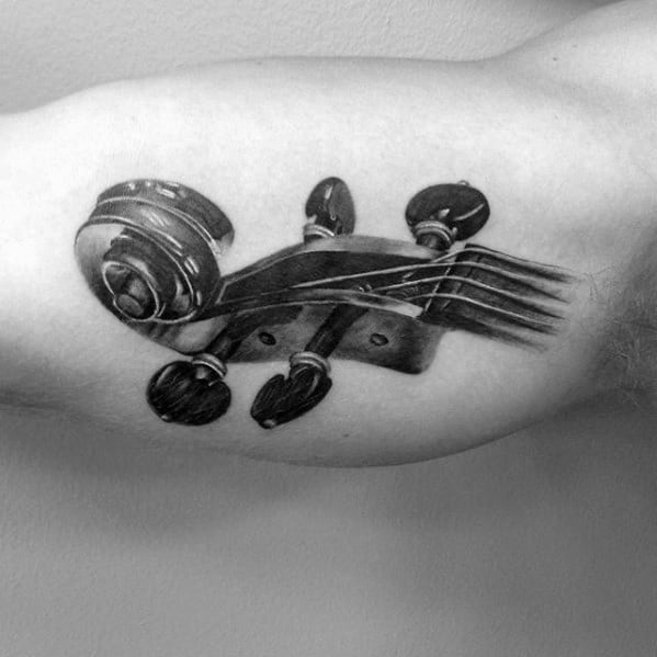 3d Realistic Coolest Small Violin Mens Inner Arm Bicep Tattoo