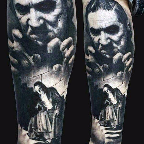 3d Realistic Dracula Castle Mens Leg Sleeve Tattoo