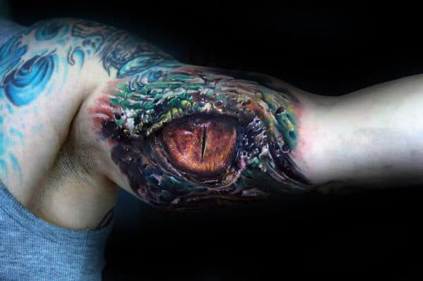 3d Realistic Dragon Eye Inner Arm Bicep Tattoo On Male