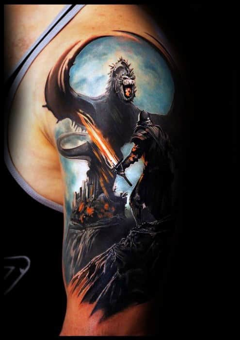 3d Realistic Dragon Solider Mens Arm Tattoos