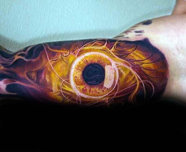 3d Realistic Eye Extreme Guys Half Sleeve Tattoo