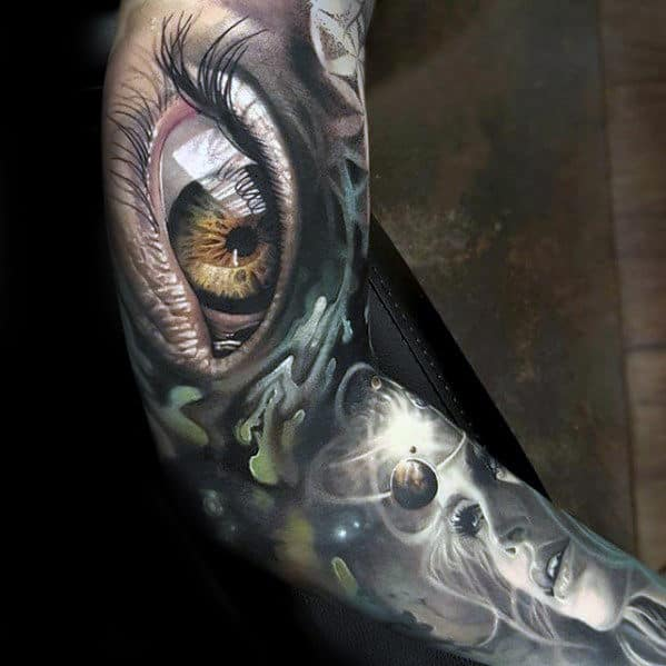3d Realistic Eye Sleeve Unbelievable Mens Tattoo Ideas