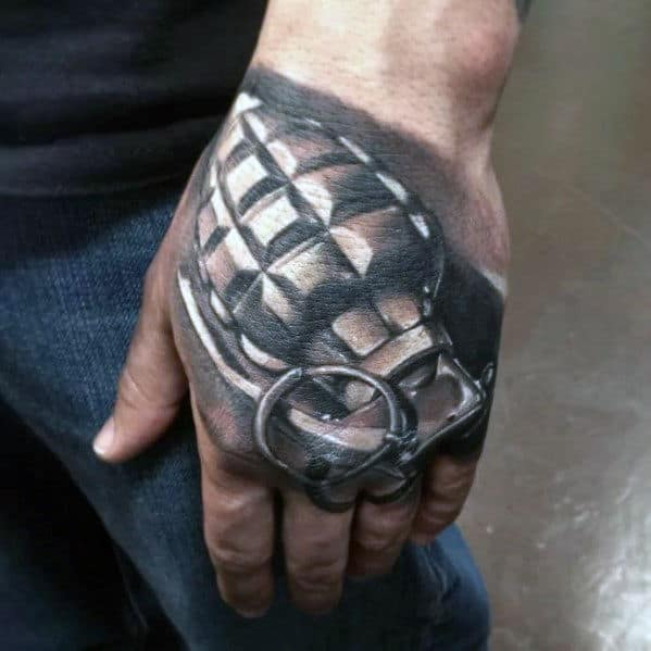 3d Realistic Grenade Male Hand Tattoo