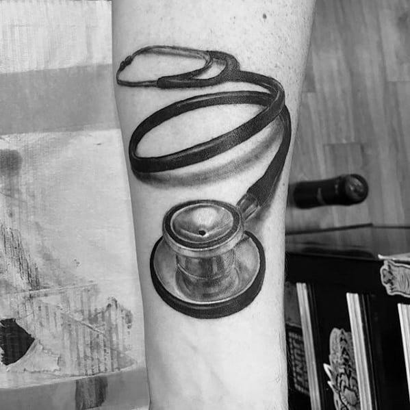 3d Realistic Guys Stethoscope Tattoo Design Ideas