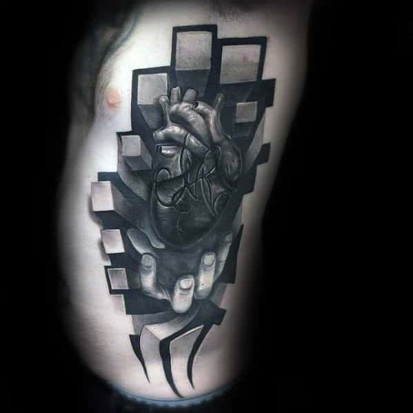 3d Realistic Hand With Heart And Cubes Unusual Male Rib Cage Side Tattoos