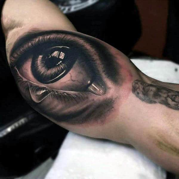 3d Realistic Inner Arm Eye With Years Tattoo On Man
