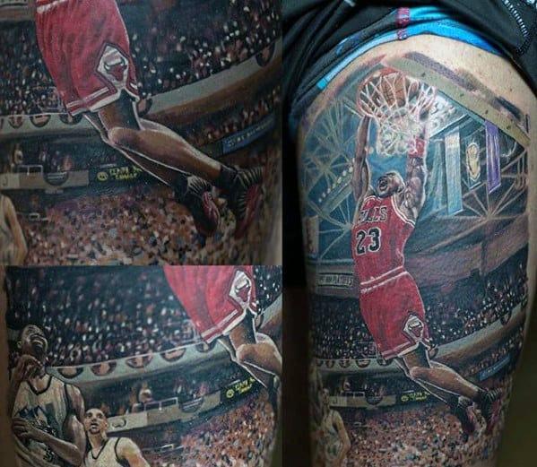 3d Realistic Jordan Dunking Basketball Mens Thigh Tattoo