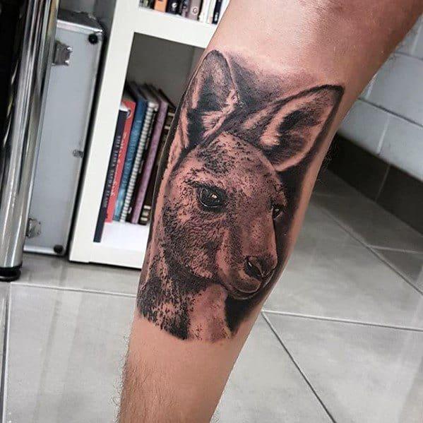 3d Realistic Leg Kangaroo Male Tattoo Designs
