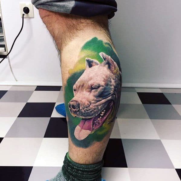 3d Realistic Leg Mens Tattoo With Pitbull Design