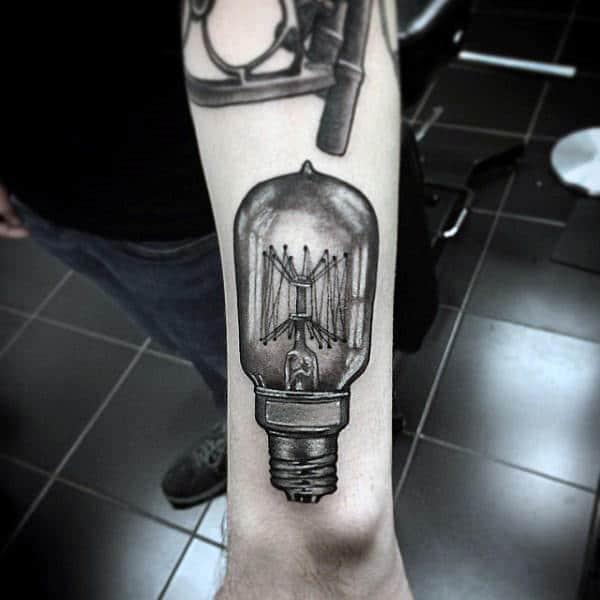 3d Realistic Light Bulb Guys Wrist Tattoo