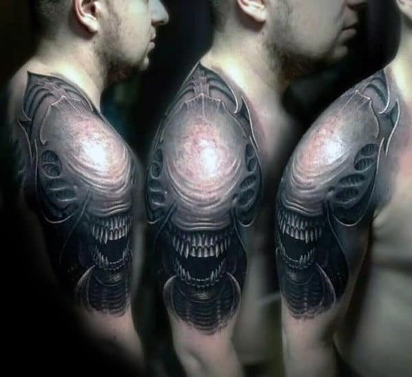3d Realistic Male Alien Shoulder And Half Sleeve Tattoo