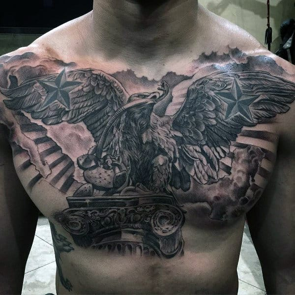3d Realistic Masculine Male Mexican Eagle Chest Tattoo Design Ideas