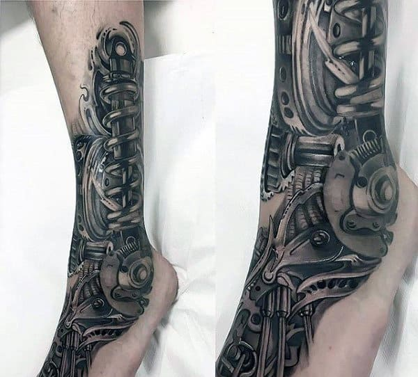 3d Realistic Mechanical Gears Mens Original Foot And Leg Tattoo