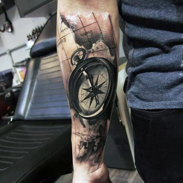 3d Realistic Mens Detailed Compass And Map Forearm Sleeve Tattoos