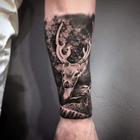 3d Realistic Mens Forearm Elk Sleeve Tattoo Ideas