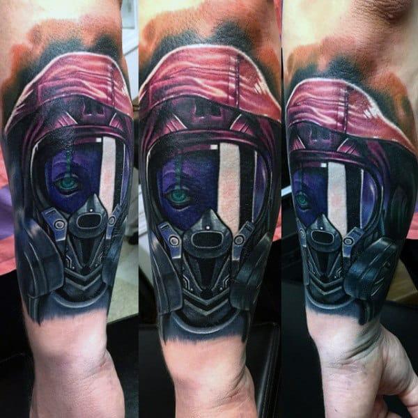 3d Realistic Mens Forearm Gas Mask Tattoo