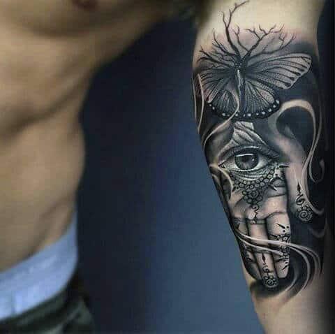 3d Realistic Mens Hamsa Inner Arm Bicep Quarter Sleeve Tattoos