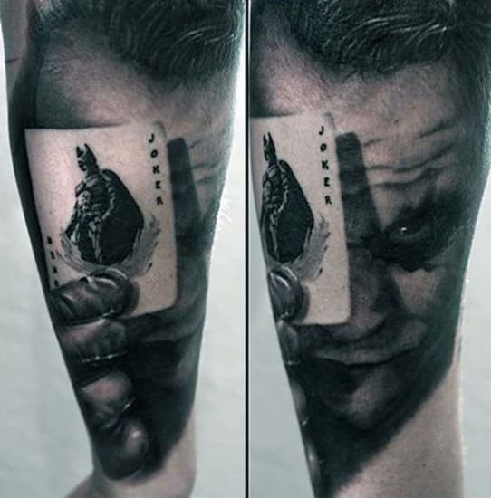 3d Realistic Mens Joker Playing Card Forearm Sleeve Tattoos