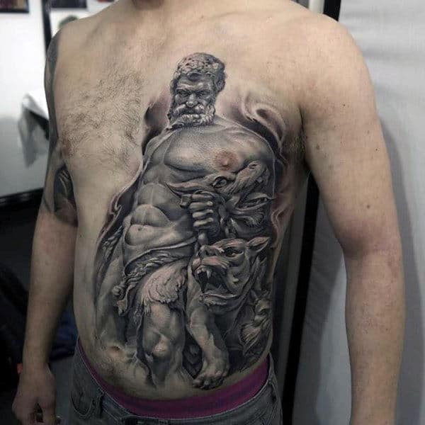 3d Realistic Mens Shaded Black And Grey Cerberus And Hades Rib Cage Side Chest Tattoos