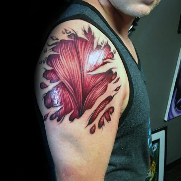 3d Realistic Mens Upper Arm Ripped Skin Muscle Tattoo Designs