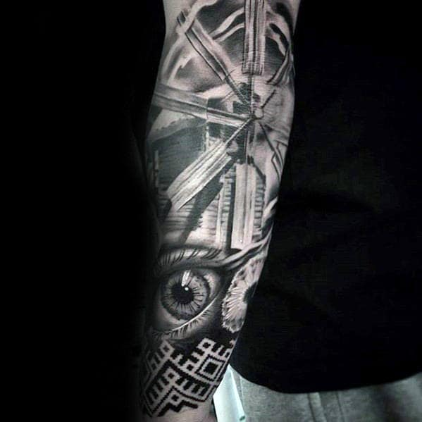 3d Realistic Mens Windmill Shaded Sleeve Tattoos
