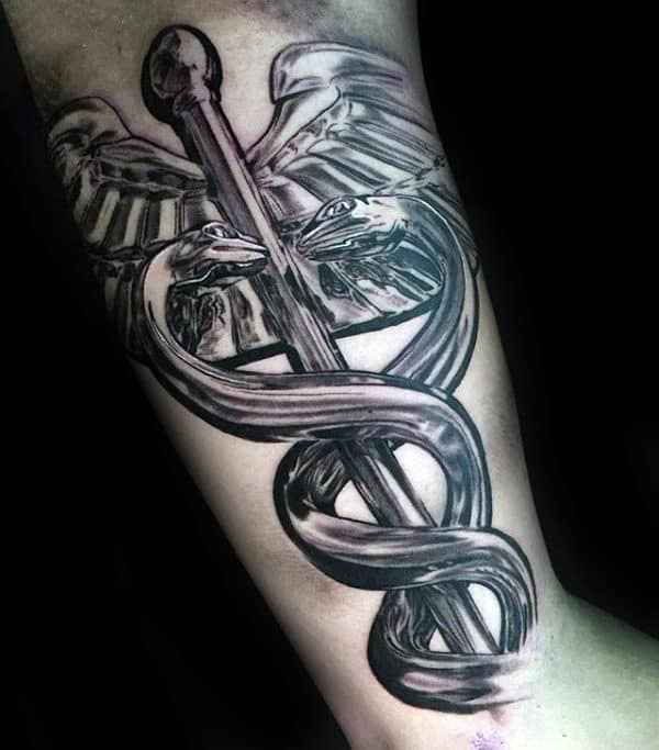 3d Realistic Metallic Caduceus Mens Inner Arm Bicep Tattoos