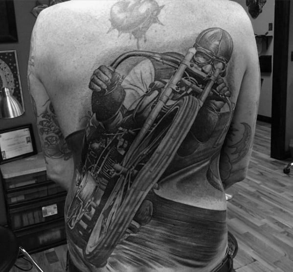 3d Realistic Motorcycle Rider Guys Cool Back Tattoos