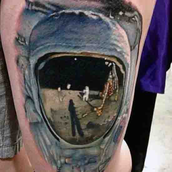 3d Realistic Outer Space Helmet Moon Tattoo Design For Men On Arm