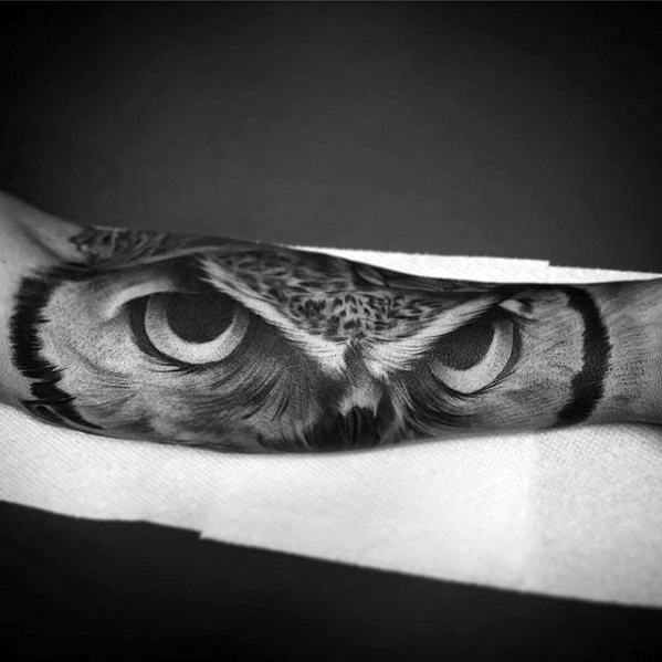 3d Realistic Owl Eyes Mens Outer Forearm Sleeve Tattoos