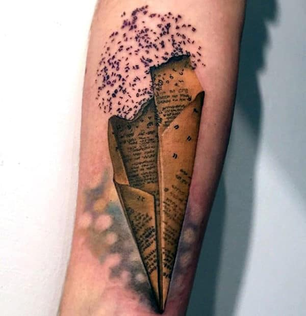 3d Realistic Paper Airplane Mens Forearm Tattoo