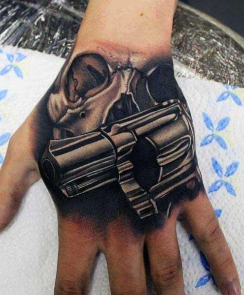 3d Realistic Revolver Skull Mens Hand Tattoos